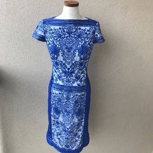 Tadashi Shoji Blue Lace Short Sleeve Dress